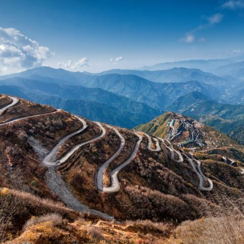 UNESCO Youth Eyes on the Silk Roads Photo Contest, Landscape.  © Rudra Narayan Mitra, Curvy Road Between China and India
